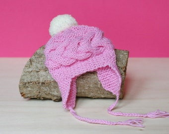 Sale! PDF Knitting PATTERN - Newborn baby earflap hat. Size 0-1 month. Knitted with straight needles. Written in US terms.