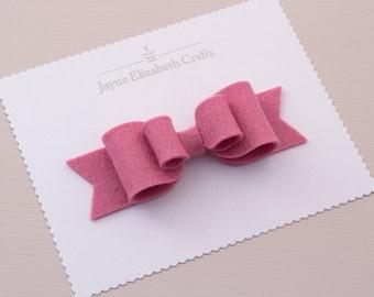 Pink Felt Hair Bow, 100% Wool Felt Bow, Large Felt Bow