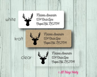 Deer Head Custom Return Address Labels - Personalized Ampersand Wedding and Marriage Stickers - Matte White, Kraft, or Clear Gloss