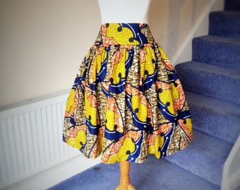 African Printed Skirt Knee / Calf Length High Waist Made to measure with elasticated back waist - African Ankara Skirt - Free post in UK