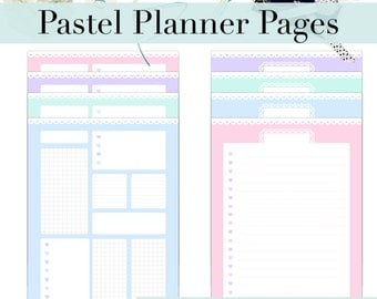Pastel Planner Pages | Refill Insert | a4 a5 US letter | Day organiser | Notes | Schedule | To Do List | Kawaii | Planner Printable | Diary
