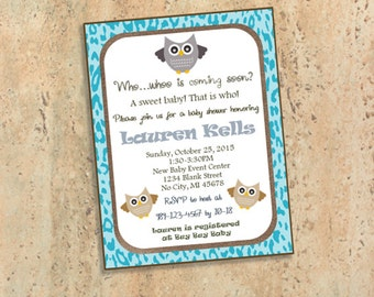 Owl Leopard Print Baby Shower Invitations - Gender Neutral - Who whoo is coming soon?