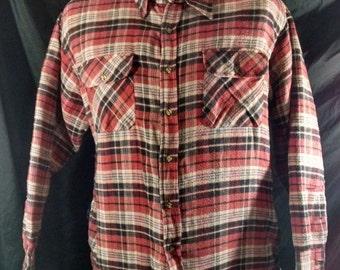 Vintage 80s Hipster Wilderness Brand Flannel Shirt Plaid XL Mens Button & Pocket