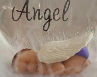 Sleeping Angel Baby Ornament Globe