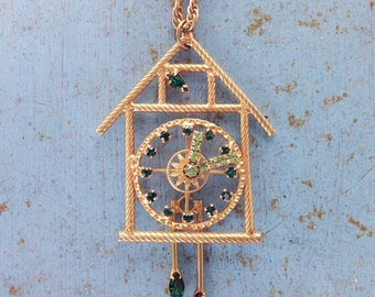 Vintage Cuckoo Clock Necklace with movable parts