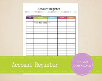 Account Register - Account Information - Home Binder - Finance Binder - Printable and Editable - INSTANT PDF DOWNLOAD