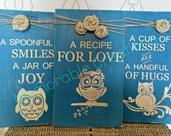 Owl Recipe for Love set of 3 signs