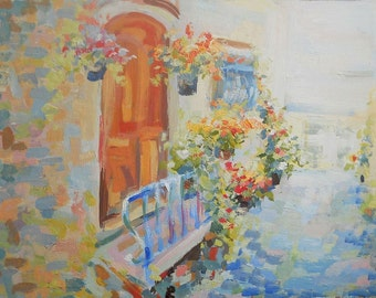 Landscape Provence Oil Painting Morning French Town Summer Cityscape Grand canal Flowers Nature Art  Wall Decor Abstract Realism Province