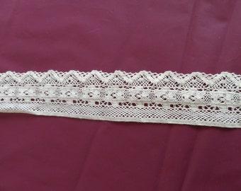 Fine Machine Crochet - Ivory color, 4 cm wide