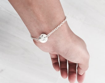 bracelet with marble ball, simple dainty bracelet