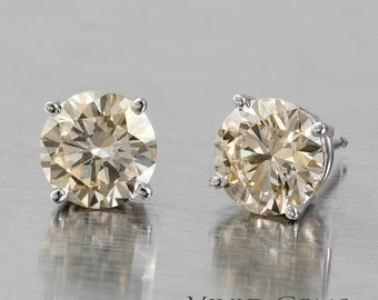 Champagne Diamond Earrings in Solid White Gold