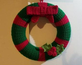 HandMade Crochet Christmas wreath decoration