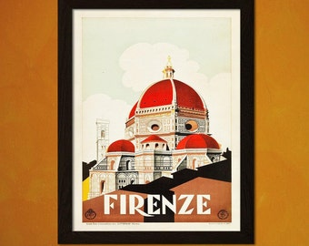 Firenze Travel Print 1930s Vintage Travel Poster Firenze Poster  Decor   Decor Italy Travel Poster  bp