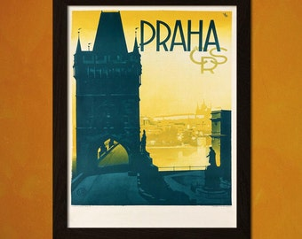 Printed on textured bamboo Art paper - Prague Travel Poster 1930s Vintage Poster Retro   Travel  Prague Poster Czech Print  bp