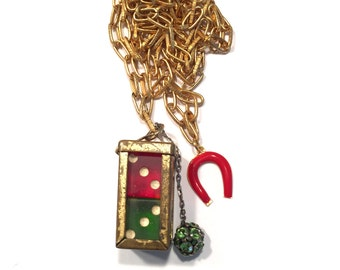 Bakelite Dice Horseshoe Lucky Charm Assemblage Vintage Necklace