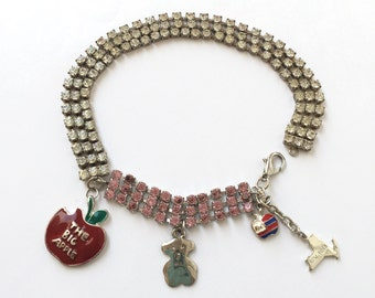New York Big Apples Bear Pink and Clear Rhinestone Upcycled Anklet