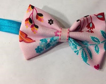 """Pink floral 4"""" Simple Bow Headband"""