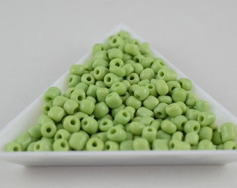 Seed Beads Glass Beads Light Green Size 6.0 Sold by 1/4, 1/2, 3/4, 1 LB/ Pound Size 6/0 are 3mm, 4mm Beads