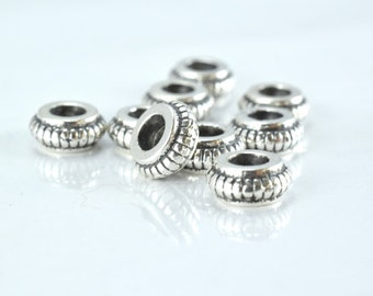 7mm Antique Ribbed Silver Metal Beads, Black Accent Detailed Design Sold by 1 pack of 25pcs, 2mm hole opening