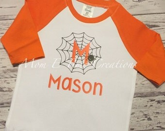 Boys personalized halloween raglan, personalized halloween tee,boys spider shirt
