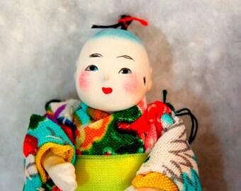 RARE Pair Miniature Japanese Ichimatsu Gofun Dolls, 2 Inches Tall,  Miniature Geisha Boy and Girl Dolls in Traditional Kimono