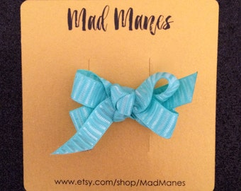 textured sea foam green twisted bow, green bow, blue bow, sea foam bow, small bow, girls bow, baby bow, toddler bow, hair accessories, bows