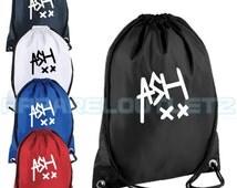 ash xx drawstring backpack bag rucksack gym music hipster trend tumblr fashion swag dope 5 sos seconds of summer new ashton irwin ashxx