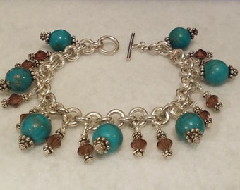 Handmade turquoise and amber beaded sterling silver bracelet