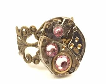 PINK Steampunk Vintage Ring