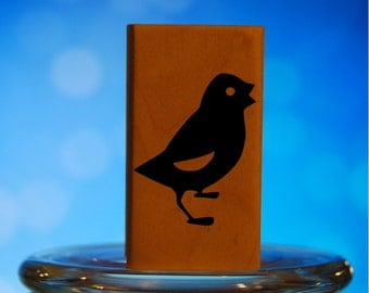 Baby Chick Chirping Rubber Stamp Mounted Wood Block Art Stamp