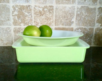 Vintage Set of Pyrex Lime Opal Glass 209 Round Pie Plate and 222 Square Cake Pan