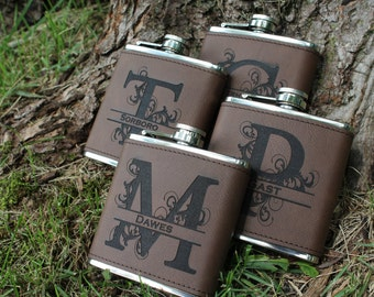 Groomsmen Gift, Flask -Bridesmaid flask - Personalized Flask, Engraved Flask, leather - Wedding Party Flasks - groomsman bridal party