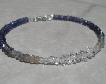 Herkimer Diamond Bracelet, Iolite Bracelet, Labradorite Bracelet, Ombre Bracelet, Dainty Bracelet, Blue Bracelet, Gemstone Bracelet