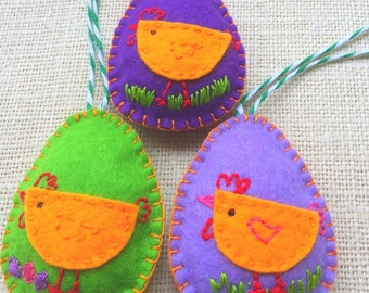 Easter Felt Eggs Ornaments 3 Set, Easter decor,  purple, green and  yellow ornament, Easter Gift, Home decor