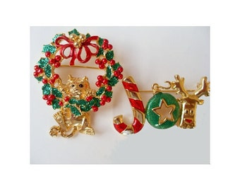Christmas Holiday Pins / Brooches * Cat In Wreath * JOY * Vintage DANCRAFT * Lot Of Two Pins
