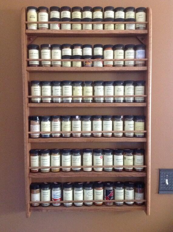 6 Shelf Wall Mounted Oak Spice Rack