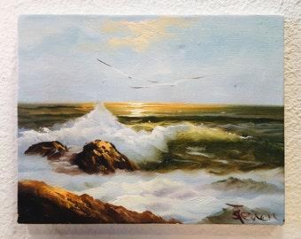 Beach sunset painting, acrylic painting on raw canvas - unframed. Nautical, Beach, Oceanside painting, Seagulls + waves, Crashing waves