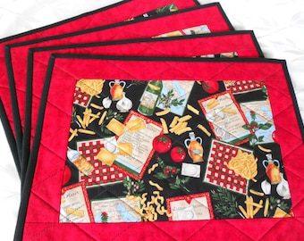 Black and Red quilted placemats Italian theme fabric/Set of Four