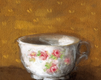 Vintage Teacup Painting - Shabby Chic Romantic Country Roses Flowers Kitchen Still Life Wall Art Decor Acrylic on Canvas