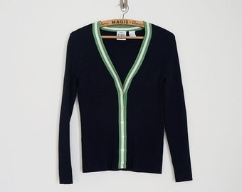 Vintage navy ribbed cardigan with striped trim// Size XS/S