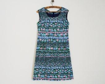 70s Midi Floral Pattern A-line Dress // Size M