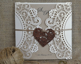 Laser Cut Wedding Invitation, Doily Laser Cut Wedding Invitation, Rustic Wedding Invitation