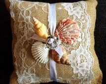 7x7 Natural Burlap Ring Bearer Pillow W/ Vintage Lace, satin ribbon and sea shells . Rustic/Country/Shabby Chic/Beach/ Barn yard wedding