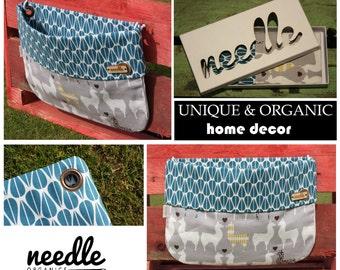 "Shelf alternative: Wallbag ""Lama's in Love""; Organic storage space; Keyholder; eco friendly home decor"
