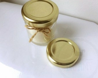 Wedding Favour mini Jar Candles / Soy wax/ reusable glass Jar / jam jars GOLD  lid / mini favours/ weddings baby shower . White candle