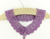 Lilac Knitted Collar Handmade Crochet Collar  Knitted Lace Collar Neck Accessory Detachable Collar Birthday presents Collar for Women