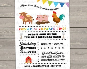 farm birthday invitations printable, cow pig rooster farm animals, 2nd birthday party invites printed digital or printed