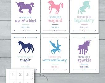 Kids Valentine Cards | Unicorns Valentine Cards  |  Pegicorn Valentines  |  Magical Valentines