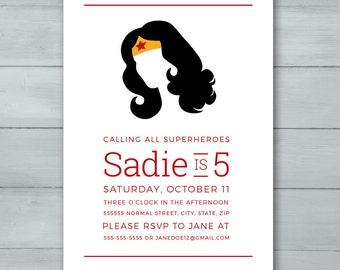 Wonder Woman Birthday Party Invitation  |  Wonder Woman Invitation  |  Wonder Woman Invite  |  Superhero Invitation