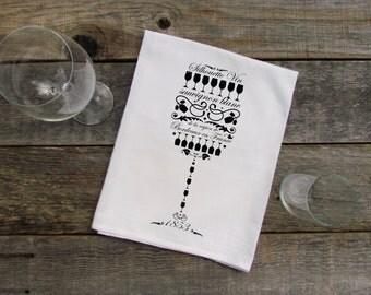 Sauvignon Blanc Flour Sack Dish Towel - Black and White, Wine